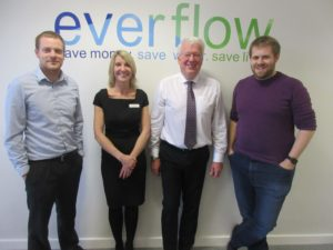 (l-r) Adam Straker of Everflow, Jackie Ridley of Wynyard Business Park, Andrew Wilde and Josh Gill, both of Everflow at Everflow's new office at Wynyard Business Park.