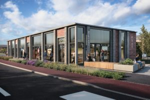 For illustrative purposes only, GCI of how the new retail units at Wynyard Business Park could look.