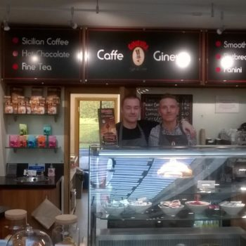 (l-r) Caffe Ginevra owner Anthony Finn with employee Callum Little.